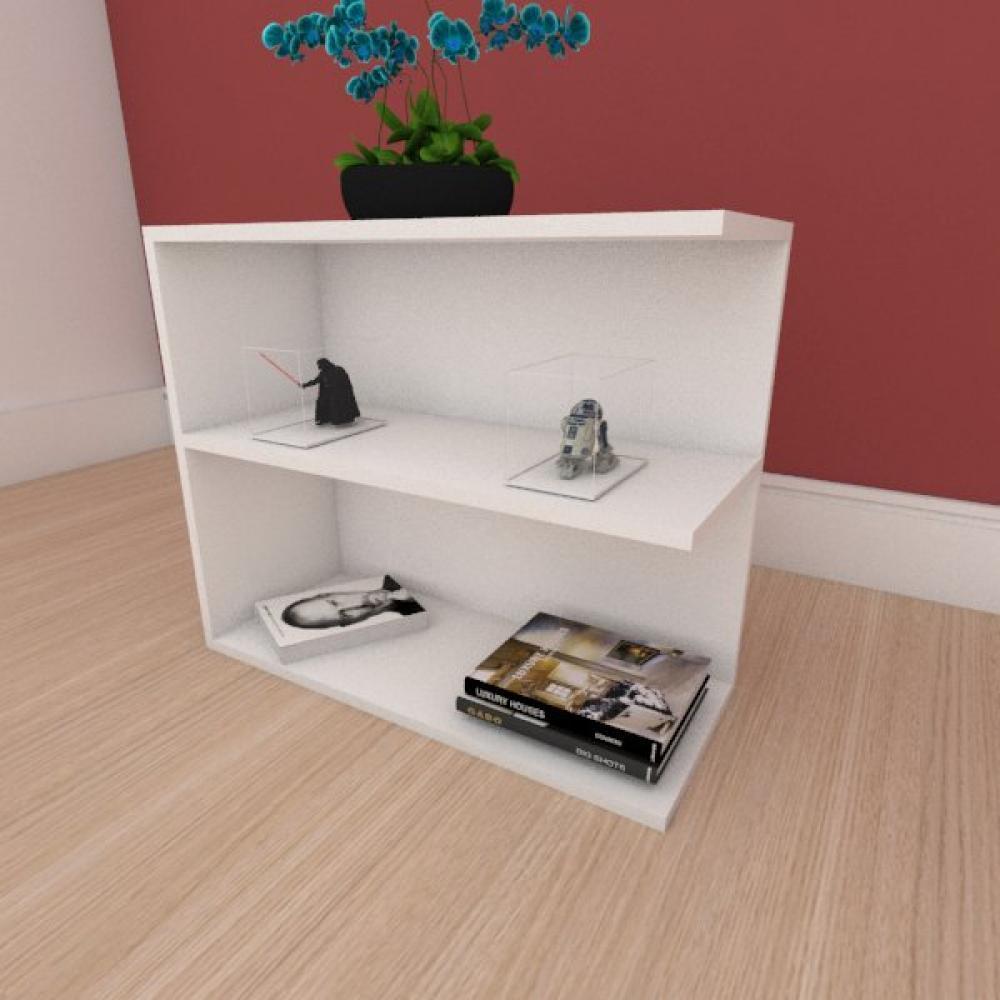Mesa de cabeceira simples moderna em mdf branco