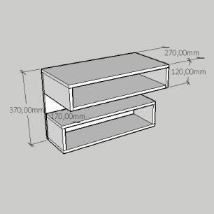Mesa de cabeceira suspensa com dois nichos em mdf amadeirado