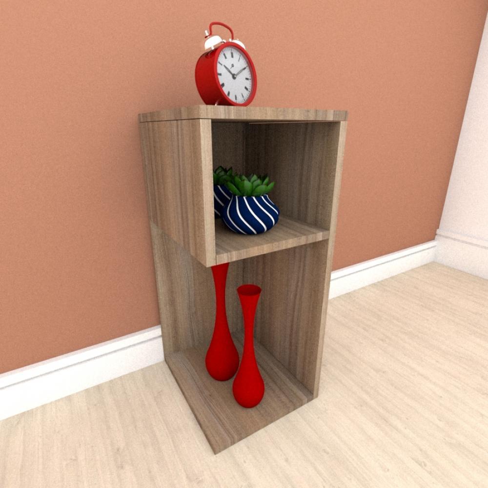 Estante escritório formato minimalista em mdf Amadeirado