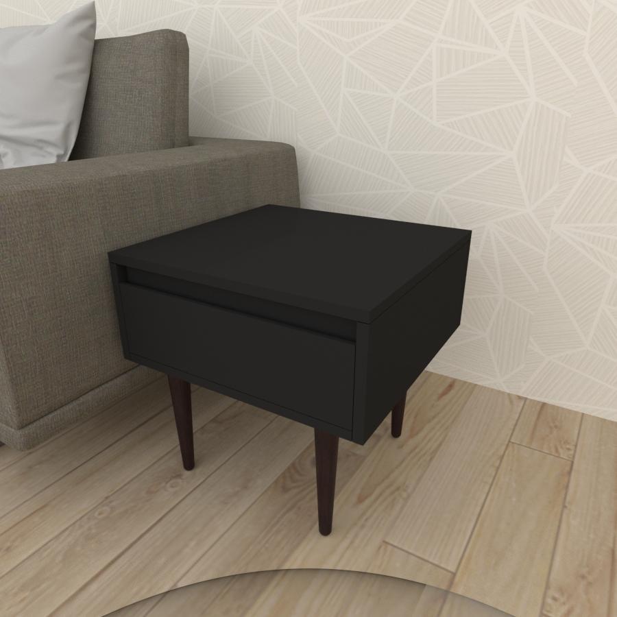 Mesa lateral com gaveta em mdf preto com 4 pés retos em madeira maciça cor tabaco