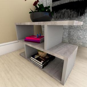 Kit com 2 Mesa de cabeceira rustico com cinza