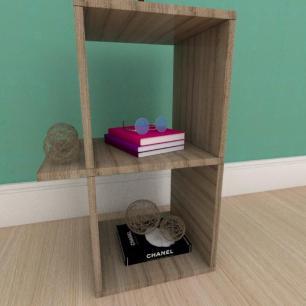 Kit com 2 Mesa de cabeceira minimalista em mdf amadeirado