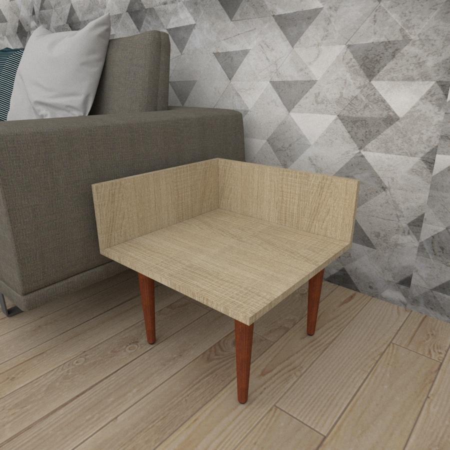 Mesa lateral simples em mdf amadeirado claro com 4 pés retos em madeira maciça cor mogno