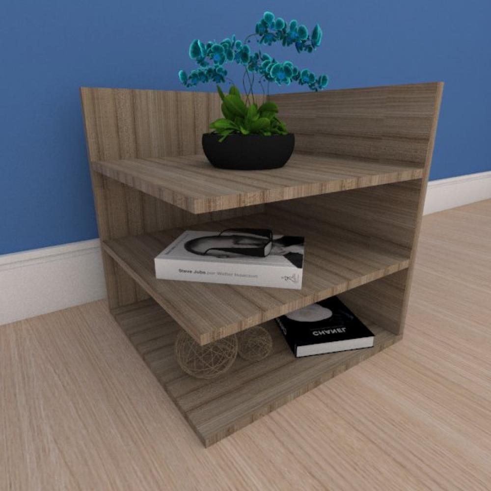 Mesa de cabeceira minimalista com prateleiras em mdf amadeirado