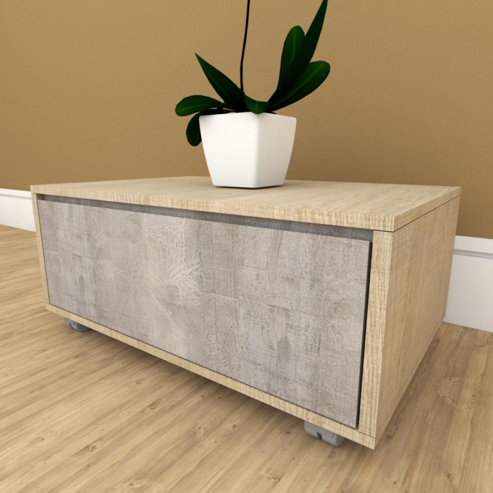 Mesa de cabeceira cinza com amadeirado claro