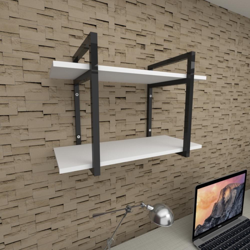 Prateleira industrial para escritório aço cor preto prateleiras 30 cm cor branca modelo ind02bes