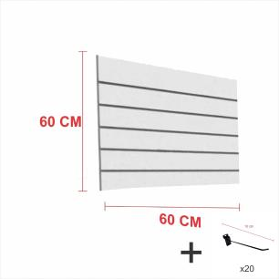 Kit Painel canaletado cinza alt 60 cm comp 60 cm mais 20 ganchos 10 cm