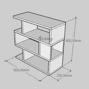 Estante de Livros compacta tripla com nichos em mdf amadeirado