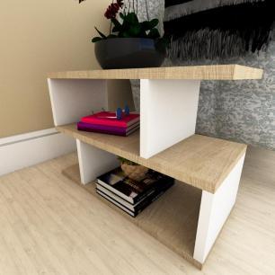 Mesa de cabeceira moderna amadeirado claro e branco