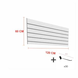 Expositor canaletado cinza alt 60 cm comp 120 cm mais 30 ganchos 20 cm