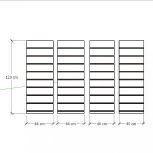 Kit 4 Painel canaletado para pilar amadeirado escuro 2 peças 44(L)x120(A)cm + 2 peças 40(L)x120(A)cm