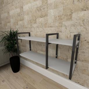 Mini estante industrial para escritório aço cor preto prateleiras 30cm cor cinza modelo ind21cep