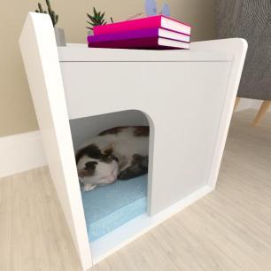 Casinha criado mudo para gato mdf branco com cinza