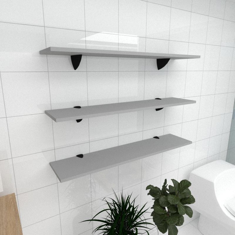 Kit 3 prateleiras para banheiro em MDF suporte tucano cinza 90x20cm modelo pratbnc09