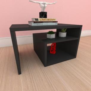 Mesa de centro moderna simples com prateleiras em mdf preto