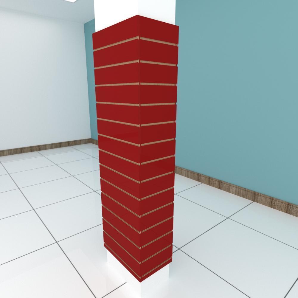 Kit 4 Painel canaletado para pilar vermelho escuro 2 peças 54(L)x180(A)cm + 2 peças 30(L)x180(A)cm