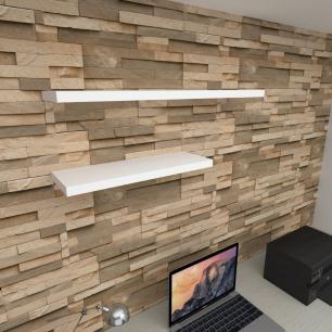 Kit 2 prateleiras escritório em MDF sup. Inivisivel branco 1 60x20cm 1 90x20cm modelo pratesb35