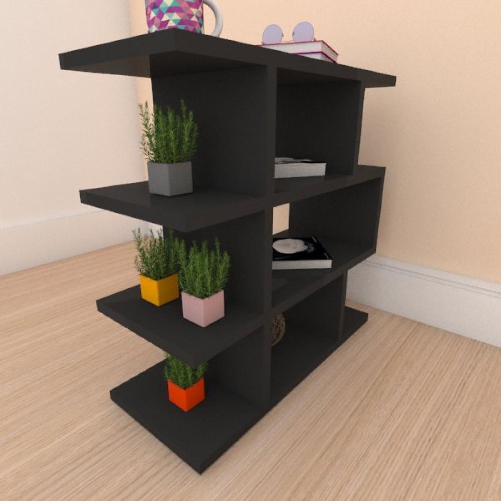 Mesa de cabeceira compacta tripla em com prateleira mdf preto