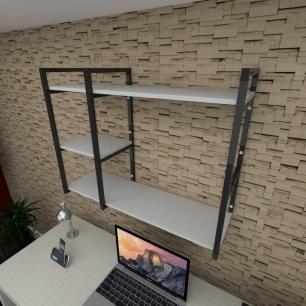 Prateleira industrial para escritório aço cor preto prateleiras 30 cm cor cinza modelo ind16ces