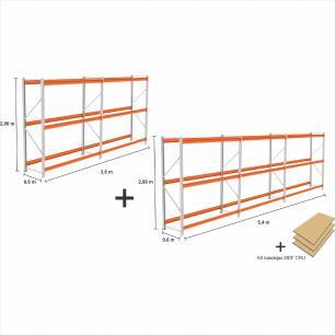 kit com 5 exp Mini Porta Pallet 2 inic + 3 cont 250KG Com 3 niveis 2,00X1,80X0,60 + kit bandeja CRU