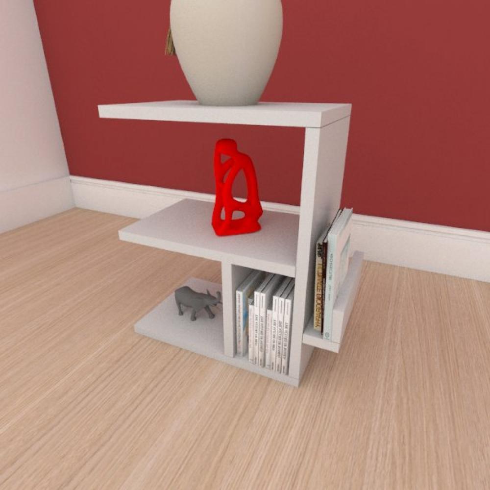 Mesa de cabeceira compacta em mdf cinza