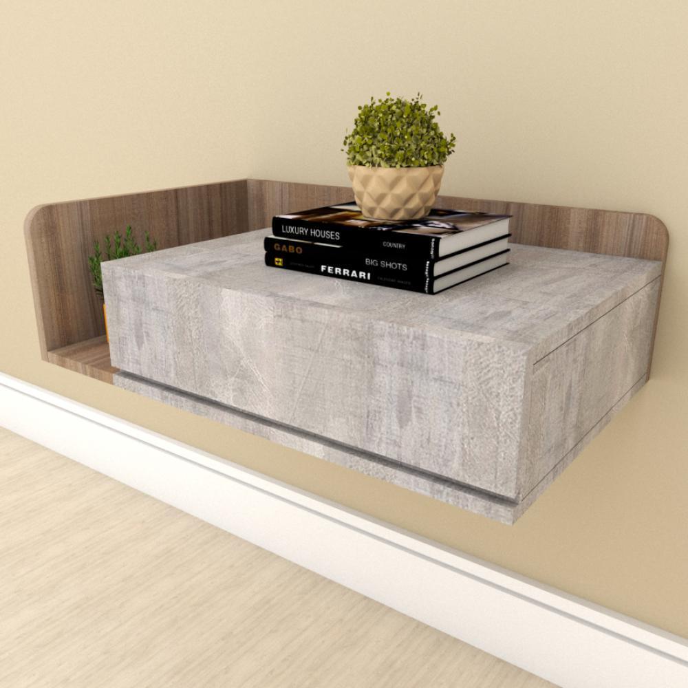 Mesa de cabeceira moderna rustico com amadeirado escuro