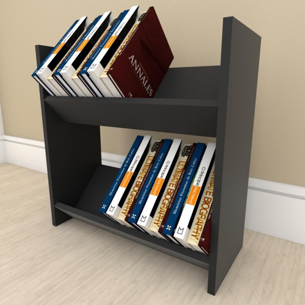Prateleira para livros Duplo em mdf Preto