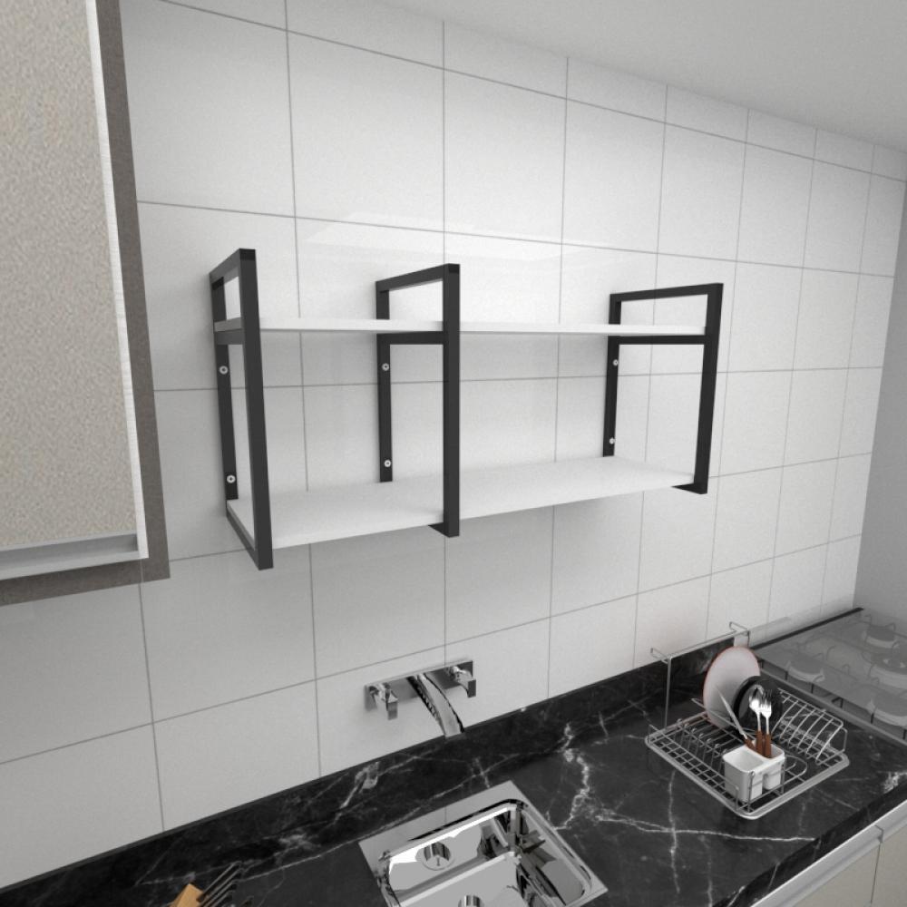 Prateleira industrial para cozinha aço cor preto prateleiras 30 cm cor branca modelo ind19bc