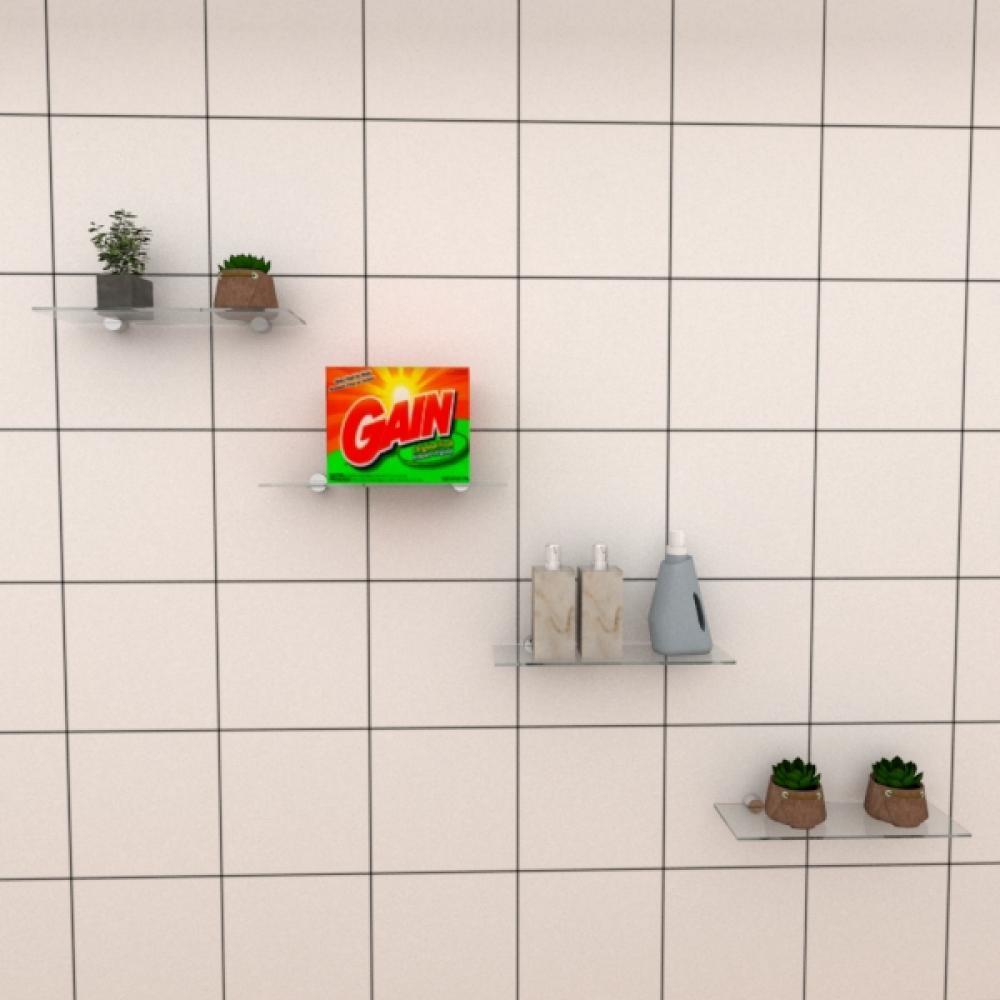 Kit com quatro Prateleira para lavanderia 30 cm vidro temperado