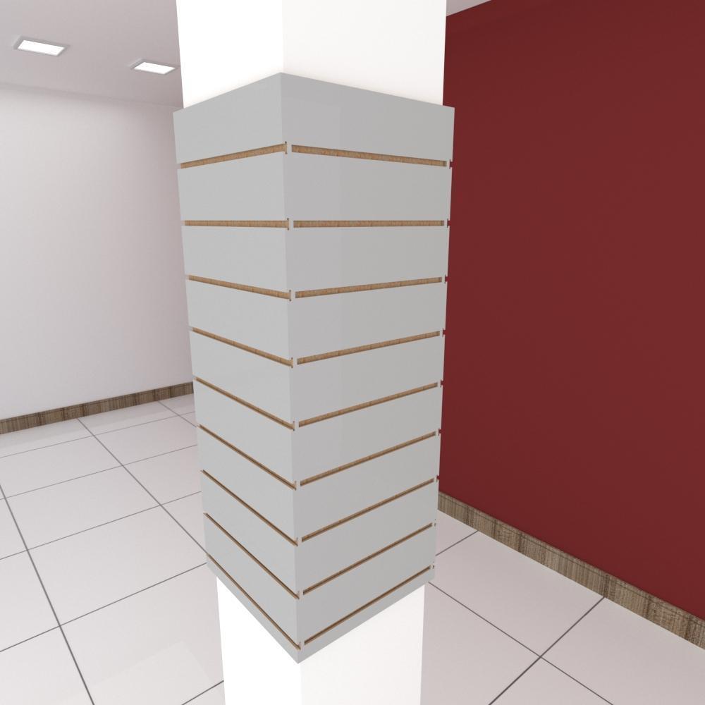 Kit 4 Painel canaletado para pilar cinza cristal 2 peças 44(L)x120(A)cm + 2 peças 40(L)x120(A)cm