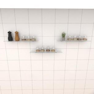 Kit com tres Prateleira para cozinha 50 cm vidro temperado