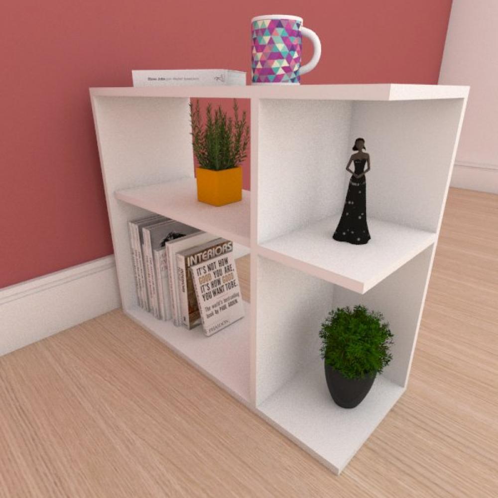 Mesa Lateral simples com prateleira em mdf branco