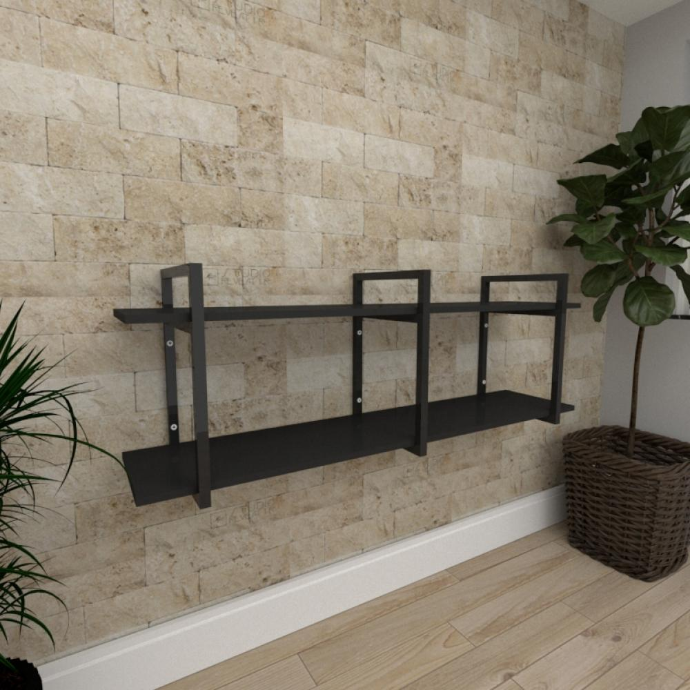 Mini estante industrial para escritório aço cor preto prateleiras 30 cm cor preto modelo ind05pep