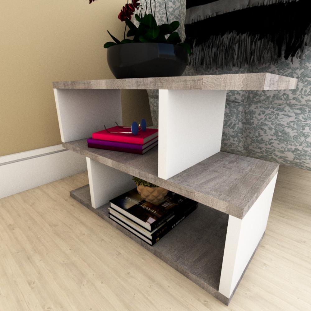 Mesa de cabeceira moderna rustico com branco