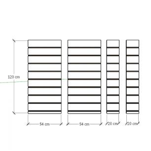 Kit 4 Painel canaletado para pilar branco 2 peças 54(L)x120(A)cm + 2 peças 20(L)x120(A)cm