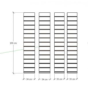 Kit 4 Painel canaletado para pilar amadeirado claro 2 peças 34(L)x180(A)cm + 2 peças 30(L)x180(A)cm