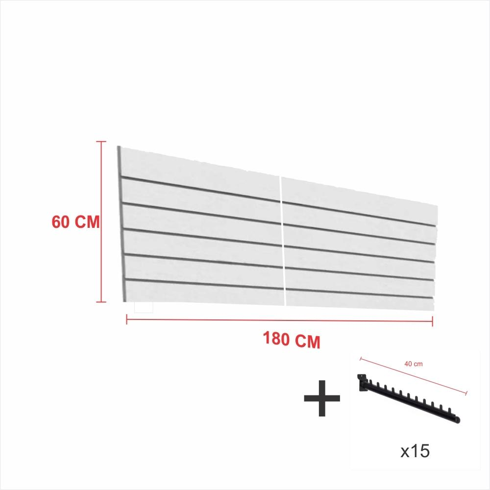 Kit Painel canaletado cinza alt 60 cm comp 180 cm mais 15 ganchos rt 40 cm para roupas