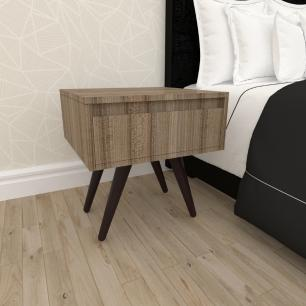 Mesa de Cabeceira com gaveta mdf amadeirado escuro com 4 pés inclinados madeira maciça cor tabaco