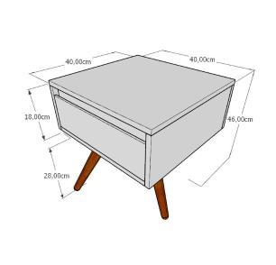Mesa lateral com gaveta em mdf amadeirado claro com 3 pés inclinados em madeira maciça cor tabaco