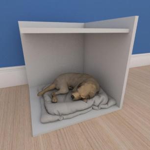 Mesa de cabeceira caminha pequeno cachorro em mdf cinza