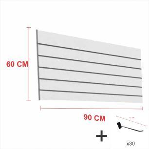 Expositor canaletado cinza alt 60 cm comp 90 cm mais 30 ganchos 10 cm