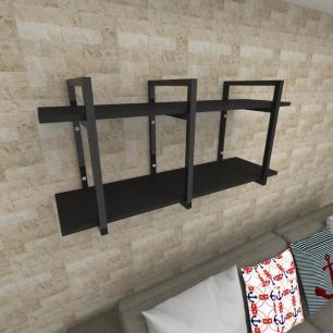 Prateleira industrial para Sala aço cor preto prateleiras 30 cm cor preto modelo ind20psl