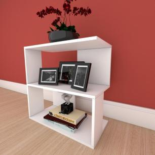 Estante escritório formato S slim em mdf Branco