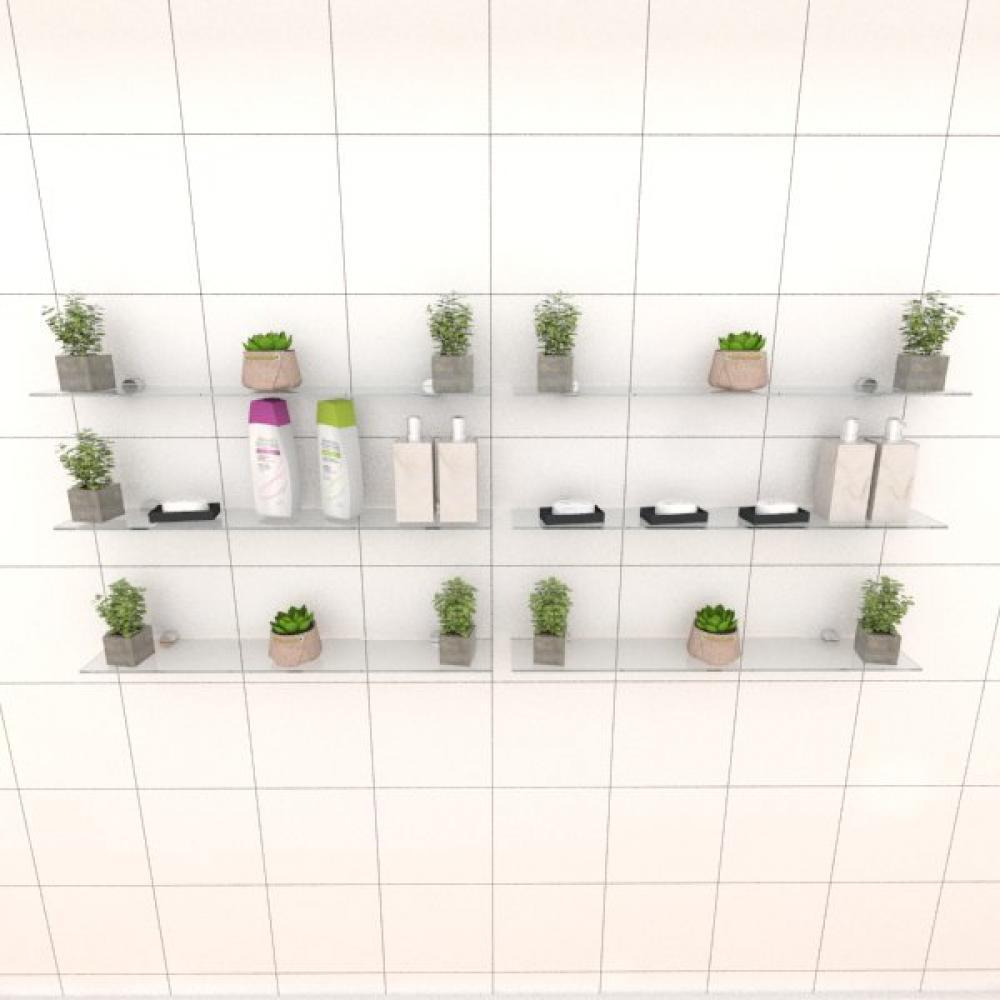 Kit com seis Prateleira para banheiro 60 cm vidro temperado