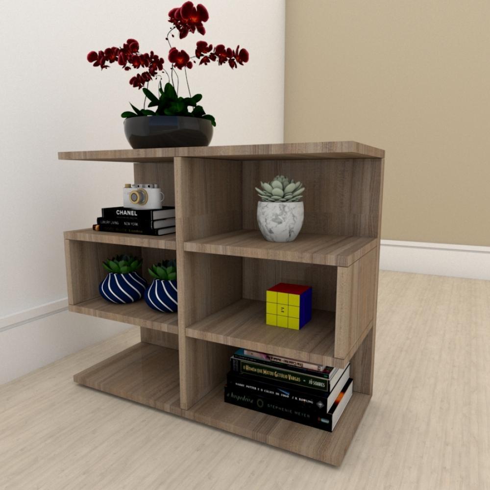 Mesa Lateral para sofá minimalista com nicho em mdf Amadeirado