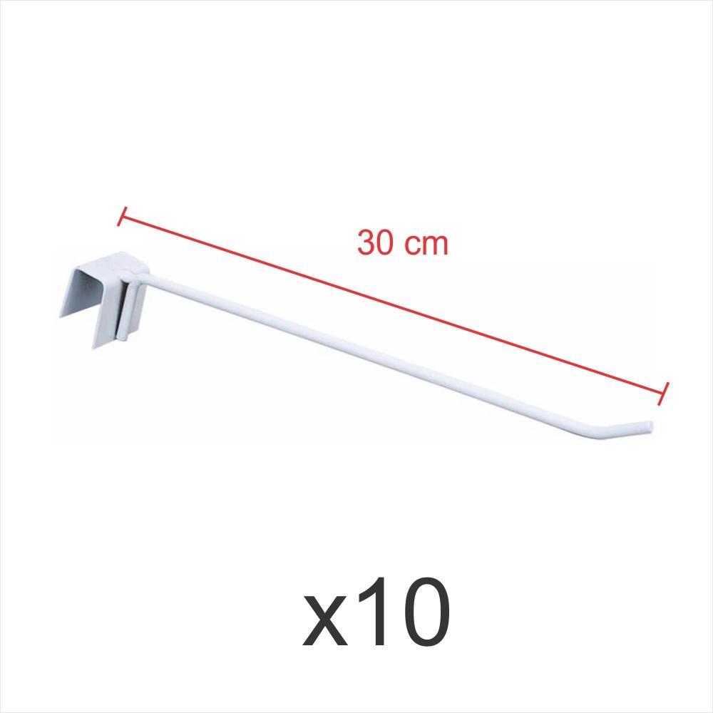 kit para expositor 10 ganchos 4mm branco de 30 cm para gondola para porta gancheira 20x20 e 20x40