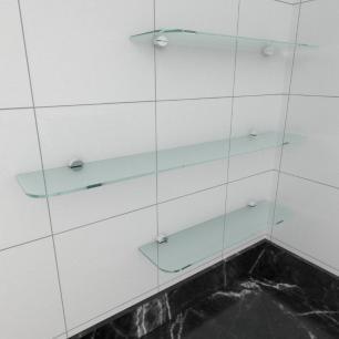 kit com 3 Prateleira de vidro temperado para cozinha 2 de 40(C)x8(P)cm 1 de 60(C)x8(P)cm