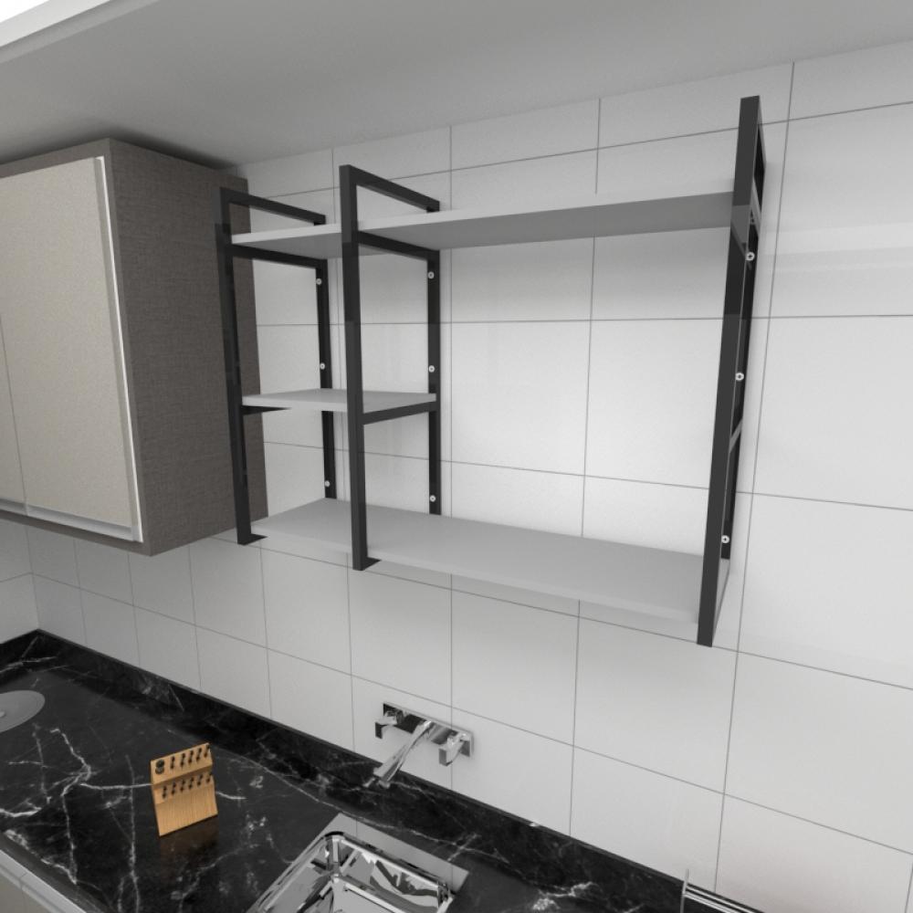 Prateleira industrial para cozinha aço cor preto prateleiras 30cm cor cinza modelo ind16cc