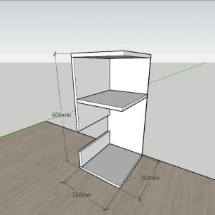 Mesa de Cabeceira formato slim em mdf Amadeirado
