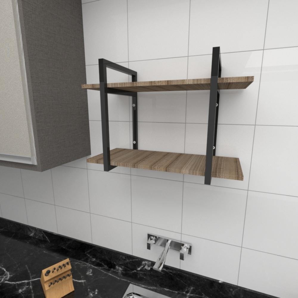 Prateleira industrial cozinha aço cor preto prateleiras 30cm cor amadeirado escuro mod ind02aec